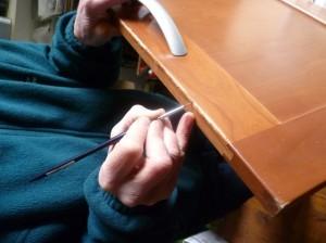 Challenge repair - touching up paintwork & varnish
