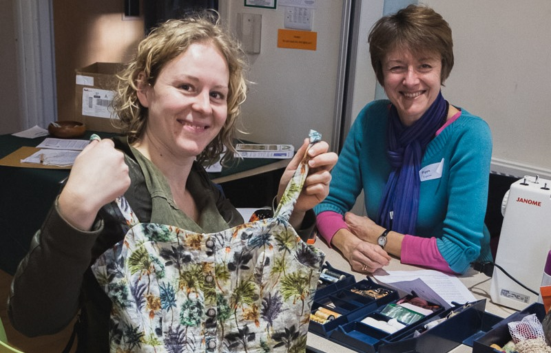 Repairing clothes at a Cambridge Repair Cafe