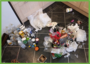 6 weeks worth of plastic rubbish from our household. Left: Recyclable, Right: Non-recyclable
